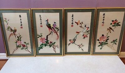 4 Large Japanese Silk Pictures