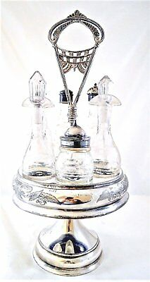 Victorian Silver Plate Castor Set 6 Glass Cruets Jars Antique
