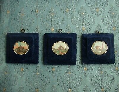 Old Antique 3x Moghul Miniature Paintings Indian Views Landscape 19th Century