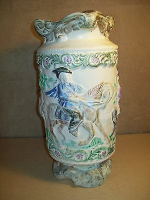"Vintage~Ceramic~Vase~Stand~Umbrella~Cane~Victorian~Raised~Dimensional~18""~"