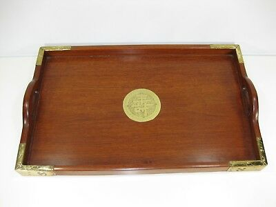 "Vintage George Zee & Co Wood Serving Tray w/ Brass Fittings 19 X 12 X 2"" #Z-6702"