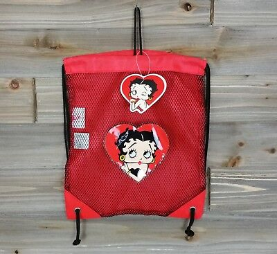 "betty boop drawstring bag sack cinch pack red 12.5"" x 10.5"""