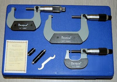 "Dasqua Set of 3 Micrometers 0 - 3"" / 0.0001"" (Ref: 41120205)From Chronos"