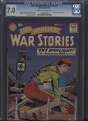 Star Spangled War Stories 87 DC 1959 CGC 7.0 cr/ow pgs Mlle. Marie cover HOT!!!