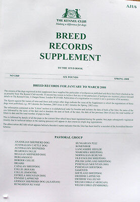 Kennel Club Breed Record Supplement Pastoral Group Spring 2008