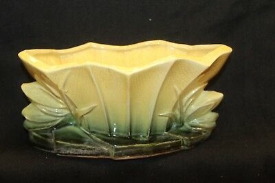 Vintage McCoy Pottery Small Lotus Form Yellow & Green Planter