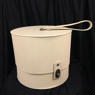 "Vintage Everbest Hatbox Carry Case With Strap Off White Vinyl 9"" Tall"