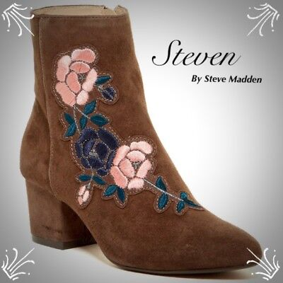 4f6c5781ee1 EMBROIDERED ANKLE BOOTS Size 7.5 Steven By Steve Madden NWB Brown Suede  Bootie