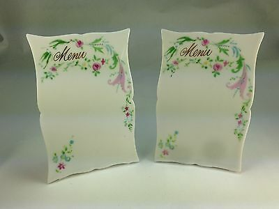 Antique French Pair (2)  Very Rare Porcelain Floral  Menu Stands