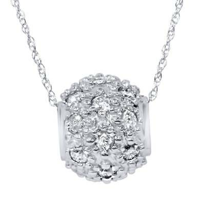 Real 1.00CT Diamond Pave 14K White Gold Round Brilliant Cut Pendant Necklace New