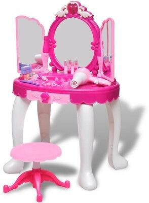 Kids Toy Vanity Table with Stool 3 Mirror Kids' Playroom Standing Light Sound