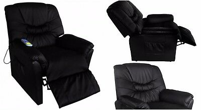 Full Body Massage Chair Electric Heated Black Chair Back Pain Therapy Relax Seat