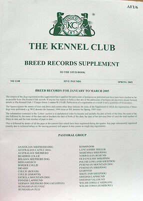 Kennel Club Breed Record Supplement Pastoral Group Spring 2005