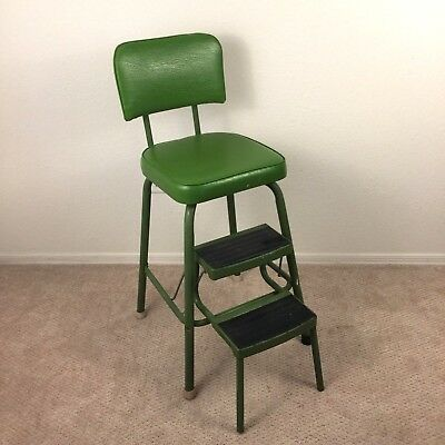 Vintage Green Step Stool Chair With Seat and Pull Out Steps Comfort Lines
