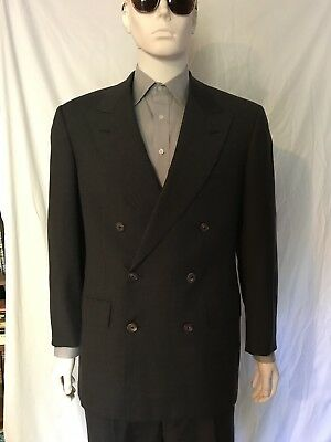 Oxxford Clothes Super 100s Double Breasted 3 Button Suit