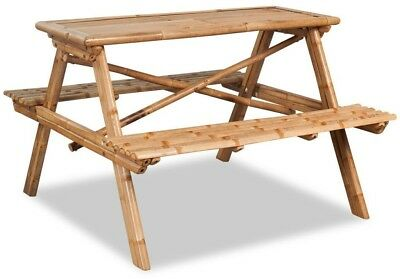 Wood Picnic Table Bench Set Outdoor Bamboo 4 Seater Table Pub Camping Furniture