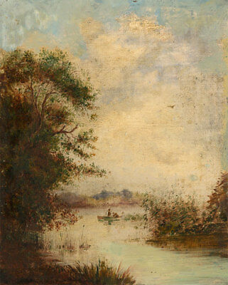 Early 20th Century Oil - Figures on a Boat in River Landscape
