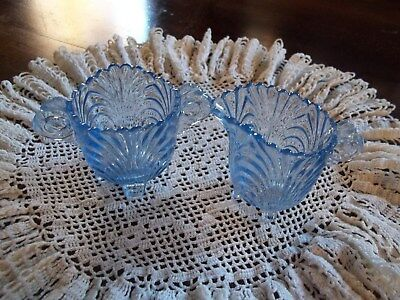 Antique Small Sugar & Creamer Swirled Blue Glass  on Feet. OLD.  Perfect