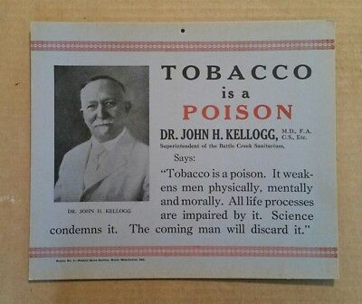"""Tobacco is a Poison"" Anti-Smoking Sign,VINTAGE 1910's-1920's"