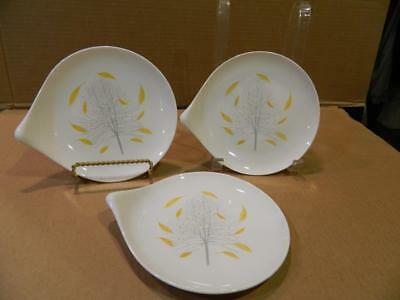 3 Sunglow 6  Plates Eva Zeisel by Hallcraft Yellow Leaves 1952-57 [f & 3 SUNGLOW 6
