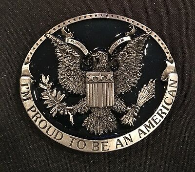 "Vintage~""I'm Proud to Be an American"" EAGLE BELT BUCKLE~USA~1981 Bergamot ~ NEW!"