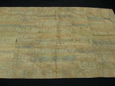 Excellent Antique Chinese/japanese Brocade Yellow Silk Geometric Pattern Panel