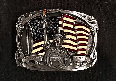 Vintage~1986~BELT BUCKLE~The Flame Of Freedom~USA~LIBERTY~AMERICA~NEW