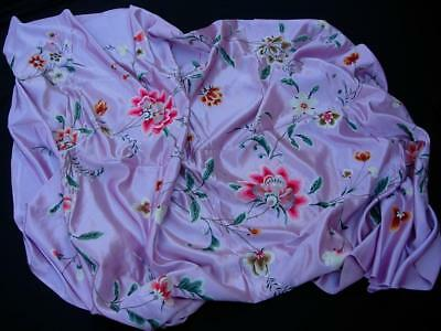 A Good Antique Chinese Embroidered Lilac Silk Panel With Flowers