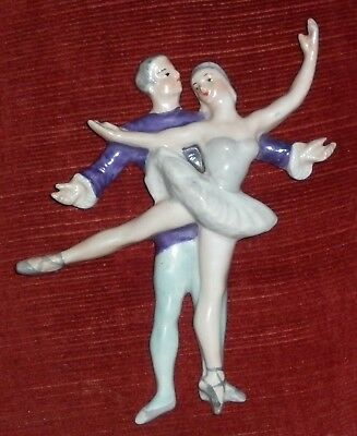 Art Deco Signed Porcelain Lady And Man Ballet Wall Plaque  Excellent Condition