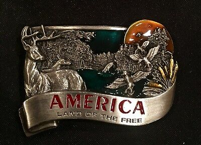 Vintage 1984~BELT BUCKLE~AMERICA LAND OF THE FREE~USA~Eagle~NEW