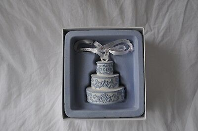 NEW IN BOX Wedgwood White Blue 2013 Our First Christmas Wedding Cake Ornament
