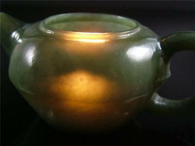 Old Chinese Celadon Nephrite Jade Teapot Statue W/ COVER TRADITIONAL STYLE