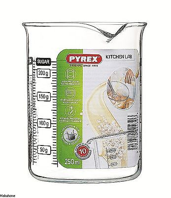 Pyrex Clear Glass Measuring Graduated Beaker 250ml With Black Marking New
