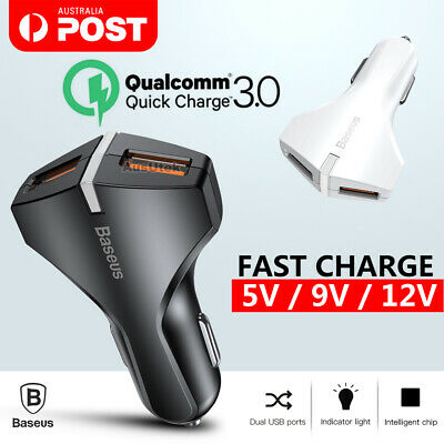 Baseus Quick Charge 3.0 2 USB PD Type-C Car Charger For Samsung iPhone Huawei