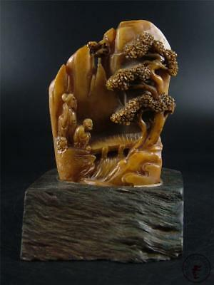 Large Antique Old Chinese Soapstone Carved Mountain Statue Chop Seal w/ Stand