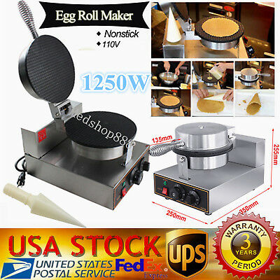 Electric Commercial Nonstick Stainless Ice Cream Waffle Cone Egg Roll Machine