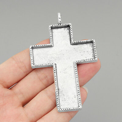 5Pcs Large Antique Silver Cross Pendant Blank Bezels 75*55mm Cameo Tray Findings