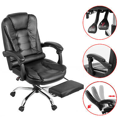 Recliner Office Chair Home Executive Gaming Footrest High Back PU Leather Steel