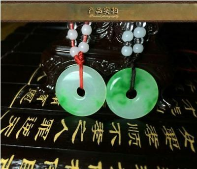 1pc Chinese Natural jade hand-carved white green pingan buckle lucky pendant