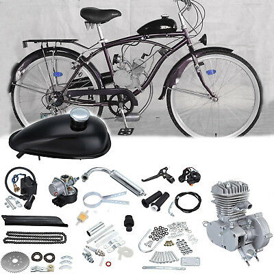 DIY 2 Stroke 50cc Petrol Gas Cycle Bike Engine Motor Kit Bicycle Chrome Pipe