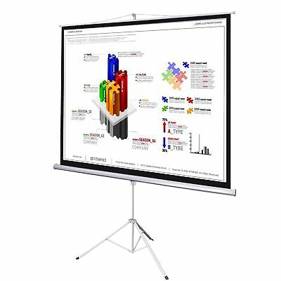 "NEW 70"" 125x 125cm Tripod Projection Screen Pull Down Home Cinema Projector"
