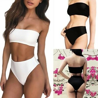 Women Bandeau Push-Up Bra High Waisted Bikini Set Swimsuit Swimwear Bathing Suit