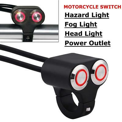 "7/8"" 22mm Motorcycle Handlebar Switch Headlight Hazard Fog Light ON/OFF Red LED"