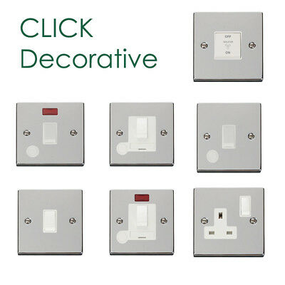 Click Deco Victorian Polished Chrome Switches and Sockets with White Inserts