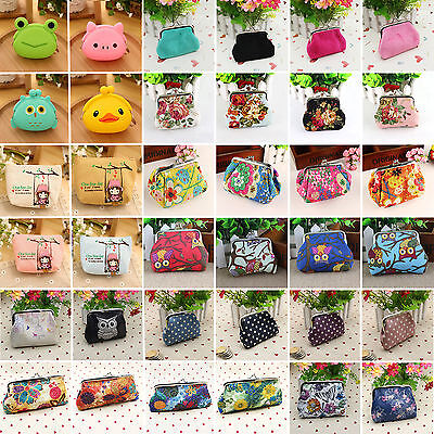 Womens Small Change Coin Purse Mini Wallet Key Cartoon Floral Clutch Handbag Bag
