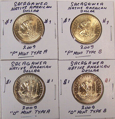 Sacagawea 2009 Uncirculated Native American Dollar Set of 4 (P & D - Type A & B)