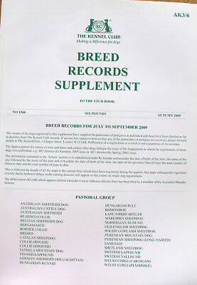 Kennel Club Breed Records Supplement Pastoral Group Autumn 2009