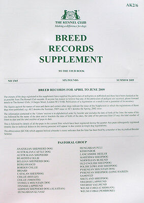 Kennel Club Breed Records Supplement Pastoral Group Summer 2009