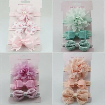 Toddler Baby Girls 3pcs Flower Bow Infant Beauty Headband Hair Band Accessories