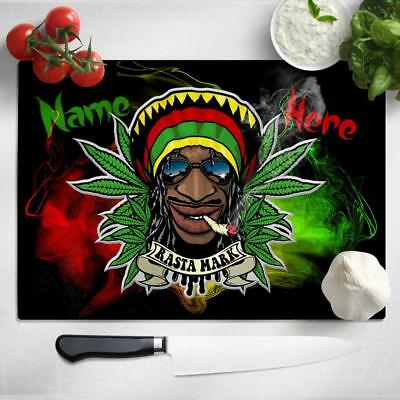 Personalised Chopping Board RASTA WEED Glass Kitchen Home Birthday Gift SH205